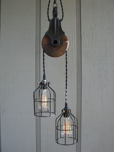 Upcycled Vintage Farm Pulley Lighting Pendant by BenclifDesigns