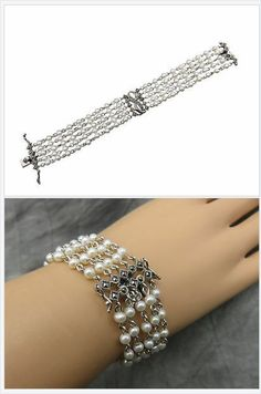 This fashionable, sassy bracelet features 5 strands of lustrous white faux pearls accented with marcasite and silver presented by the fine crafted jewels from Judith Jack.