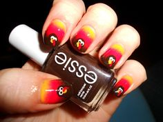 """""""  Just in time for Thanksgiving, my turkey nails! How cute are these little guys? """" These are amazing!"""