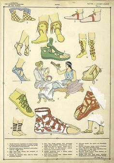 1925 French Art Deco Hand Coloured Pochoir Print of Ancient Greek Women's Fashion -- Shoes. By Paul Louis de Giafferri . Greek Fashion, Roman Fashion, Greek History, Ancient History, European History, American History, Historical Costume, Historical Clothing, Ancient Greece Fashion