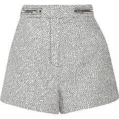 Proenza Schouler Bouclé shorts ($260) ❤ liked on Polyvore featuring shorts, short, bottoms, ecru, pants, loose short shorts, high waisted short shorts, loose shorts, loose fit shorts and high rise shorts