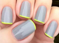 gray manicure + neon tips