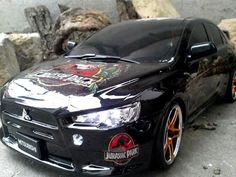 Rc-Karosse-1-10-Mitsubishi-EVO-X-Jurassik-Park-schwarz-LED-Tamiya-HPI