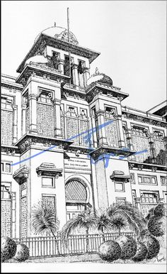 Diyal Singh College, Lahore. Pen and ink on pastel sheet, drawn with a 0.1mm rapido.  By: Zehra Naqavi (Architect/artist)  Year: 1996