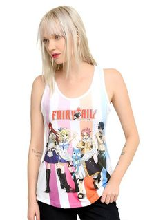 Racer back tank top from Fairy Tail with a group sublimation print design on front featuring Natsu, Lucy, Erza, Gray and Happy. dry low Made in USA Listed in junior sizes Fairy Tail Merchandise, Anime Merchandise, Hot Topic Anime, Hot Topic Shirts, Fairy Tail Anime, Kawaii, Cosplay, Anime Outfits, Guys And Girls
