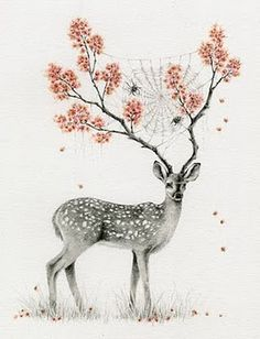 Spider-webbed deer with flower antlers