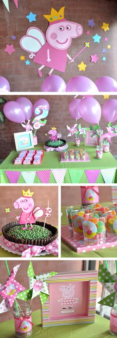 Cumpleaños infantil Peppa Pig Princesa --- love the cake Fiestas Peppa Pig, Cumple Peppa Pig, Peppa Pig Pinata, 4th Birthday Parties, Birthday Fun, Peppa Pig Princesa, Pig Birthday Cakes, Birthday Decorations, Pig Decorations