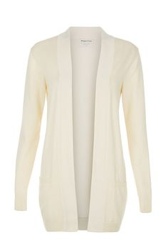 Winter white knitted open cardigan in 100% organic Fairtrade certified cotton. Long sleeve with front pockets.