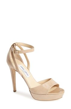 Would wear these nude Jimmy Choo leather strap sandals everywhere!