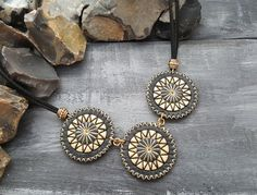 Leather necklace. Boho necklace. Bohemian by VelmaJewelry on Etsy