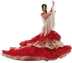A model of a Spanish belly dancing costume with a full circle skirt, when the belly dancer spinning the fluid motion of the skirt creates a wave effect.