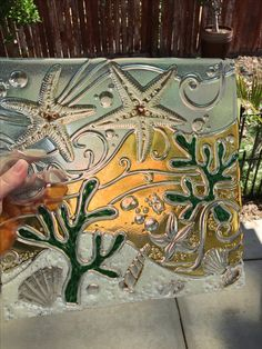 Sea Life art glass ocean textured art by Uneek Glass Fusions. www.uneekglassfusions.com