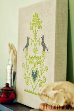 Cross Stitch on Stretched Burlap Canvas
