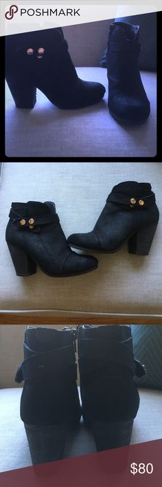 Steve Madden Ariel black suede bootie Great condition inside zipper runs true to style  black suede with gold buckle hardware similar is extremely similar to rag & bone style bootie Steve Madden Shoes Ankle Boots & Booties