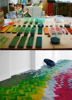 multi-colored hardwood floor