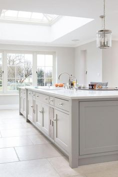 The main sink run is on the island which acts as the main prep area and is paral… Open Plan Kitchen Living Room, Home Decor Kitchen, New Kitchen, Shaker Kitchen, Awesome Kitchen, Kitchen Hacks, Home Interior, Kitchen Interior, Kitchen Units