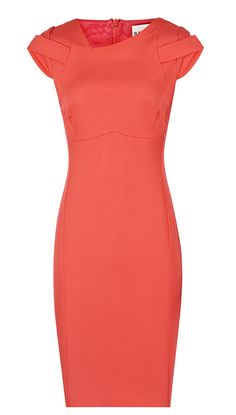 Coral pencil dress love the idea and style but am not sure it'd work with my body type.