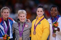 USA gets gold in Judo! Way to go Kayla Harrison! (From L) Britain's silver medalist Gemma Gibbons, United States' gold medalist Kayla Harrison, Brazil's bronze medalist Mayra Aguiar and France's bronze medalist Audrey Tcheumeo.
