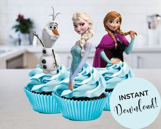 Disney Frozen Cupcakes, Frozen Cupcake Toppers, Disney Princess Cupcakes, Princess Cupcake Toppers, Disney Frozen Elsa, Elsa Images, Disney Party Decorations, Designer Bridesmaid Dresses, Elsa Anna