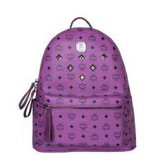 MCM Medium Stark Six Studded Backpack In Purple