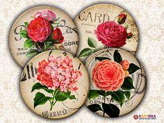 VINTAGE SHABBY FLOWERS  Digital Collage Sheet by KARTINKAshop, $4.50