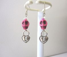 Sugar Skull Earrings Day Of The Dead Pink Heart by sweetie2sweetie