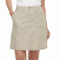 Simple and comfortable, this women's twill skort from Croft & Barrow is a classic look you won't want to miss out on. Blouse And Skirt, Denim Skirt, Men In Kilts, Classic Looks, Skort, Plus Size, Size 16, Fitness Fashion, Fashion Dresses