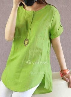 Solid Casual Cotton Round Neckline Short Sleeve Blouses @ – Best Of Likes Share Kurta Designs, Blouse Designs, Sewing Blouses, Casual Outfits, Fashion Outfits, Short Tops, Indian Designer Wear, Blouse Patterns, Linen Dresses
