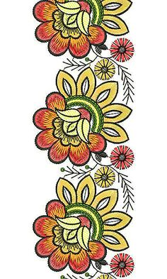 Resultado de imagem para embroidery borders in paisley Border Embroidery, Flower Embroidery Designs, Embroidery Patterns, Freehand Machine Embroidery, Sewing Machine Embroidery, Embroidery Designs Free Download, Free Machine Embroidery Designs, Lace Design, Textile Patterns