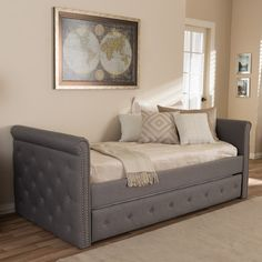 Shop for Baxton Studio Aisopos Modern and Contemporary Grey Fabric Tufted Twin Size Daybed with Roll-out Trundle Guest Bed. Get free delivery On EVERYTHING* Overstock - Your Online Furniture Outlet Store! Contemporary Fabric, Small Rooms, Small Spaces, Twin Daybed With Trundle, Girls Daybed, Twin Beds, Bunk Beds, Daybed Room, Bedrooms
