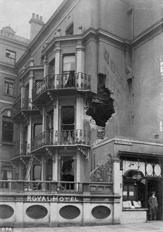 The Royal Hotel in Scarborough was left with a gaping hole after the bombing Scarborough England, Scarborough Castle, Old Pictures, Old Photos, East Yorkshire, Seaside Towns, British History, World War I, Wwi