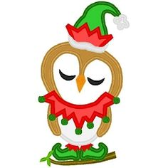 Elf Owl Applique - 3 Sizes! | Birds and Birdhouses | Machine Embroidery Designs | SWAKembroidery.com Band to Bow