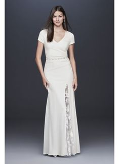Searching for a simple, casual wedding dress? David's Bridal offers simple, elegant wedding gowns in lace, beach styles, short & other simple dress looks! Galina Wedding Dress, Wedding Dress Sleeves, Long Sleeve Wedding, Davids Bridal Dresses, Wedding Dresses, Wedding Frocks, Form Fitting Wedding Dress, Plus Size Gowns, Tea Length Dresses