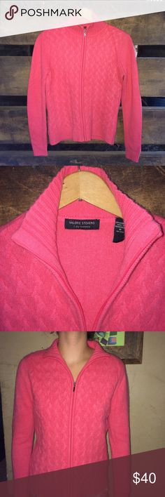 """Valerie Stevens 2 Ply Cashmere Zip Up Sweater Excellent, very lightly used condition. 100% Cashmere. Hand wash. Made in Madagascar. For reference, my model is 5 feet 8"""" tall and 120 pounds. Valerie Stevens Sweaters Cardigans"""