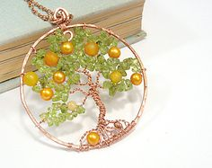 Tree Of Life Pendant Necklace Copper Wire Wrapped Rear View Mirror Charm Fruiting Orange Yggdrasil Pendant