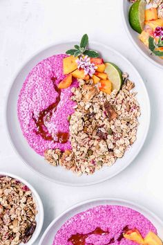 Tropical Dragon Fruit Chia Pudding Breakfast Bowls or Parfaits, so easy to make, colorful, and a real summer treat! #chiapudding #chiapuddingparfait #breakfastbowl #breakfast #vegan #veganbreakfast #veganrecipe #tropicalrecipe #tropicalveganrecipe #summerrecipe #dragonfruit #pitaya #tropicalbowl Chia Pudding Breakfast, Breakfast Snacks, Breakfast Bowls, Vegan Breakfast, Sushi Recipes, Whole Food Recipes, Sushi Fillings, Delicious Vegan Recipes, Healthy Recipes