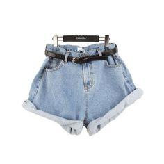Women's Girl Retro Vintage Style Oversize Crimping Denim High Waist Jean Shorts | eBay