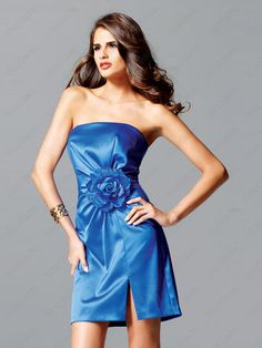 2012 Spring Style Sheath / Column Strapless Hand-Made Flower Sleeveless Short / Mini Elastic Woven Satin Blue Cocktail Dress / Homecoming Dress Blue Homecoming Dresses, Blue Evening Dresses, Bridesmaid Dresses, Dress Prom, Homecoming Queen, Wedding Dresses, Bridesmaids, Party Dress, Types Of Dresses