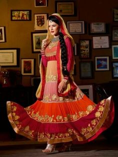 Multi Color Georgette Anarkali Suit With Zari Embroidery And Stone Work