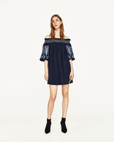 ZARA - WOMAN - DRESS WITH EMBROIDERED SLEEVES