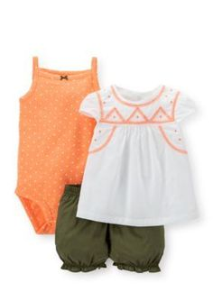 Carters  3-Piece Embroidered Top Printed Bodysuit and Shorts Set