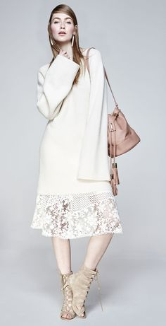 See by Chloe Bell-Sleeve Sweater Tunic & Lace A-line Knee-Length Skirt