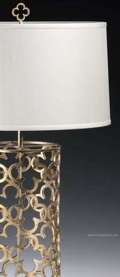 hand-wrought iron table lamp with antique silver leaf finish