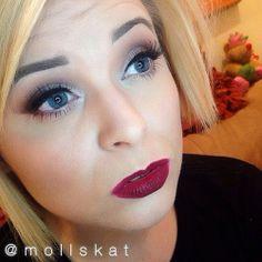 dark red lipstick with soft eye makeup idea