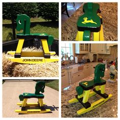 John Deere rocking horse I hand painted ...designs by auntie b ..contact me for more information! #designsbyauntieb #johndeere #rockinghorse #babyshower #gifts email:designsbyauntieb@gmail.com or see my Facebook  page  www.facebook.com/designsbyauntieb