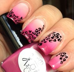 Pink leopard ombre nails