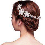 Dayiss® Fünf Blättern Blüten Strass Haarschmuck mit Diamant Rhinestone-Kristall-Blumen-Brauthochzeits -Stirnband http://amzn.to/2sqLaGb