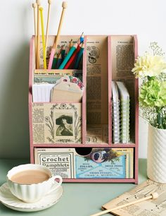 Vintage decoupage desk tidy