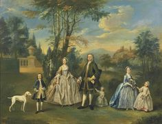 British School 18C A Family in a Landscape 1750