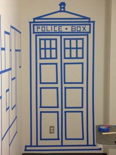 TARDIS wall decor done with painters tape
